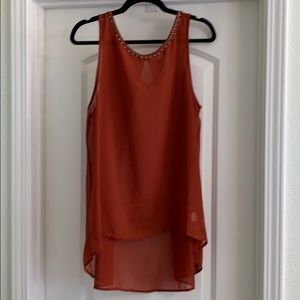 bobeau sheer burnt orange tank XL